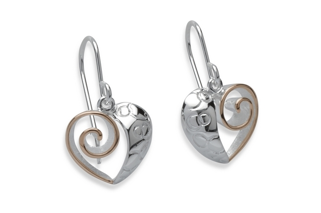 Sterling Silver Rose Gold Plate Heart Earrings Item UNQME-483