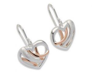 Sterling Silver Rose Gold Plate Heart Earrings Item UNQME-538 | nichellejewellery.com
