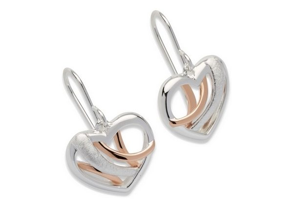 Sterling Silver Rose Gold Plate Heart Earrings Item UNQME-538 | nichellejewellery.com