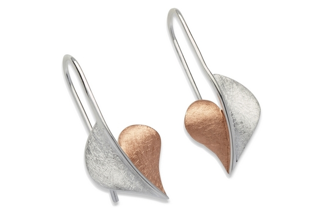 Sterling Silver Rose Gold Plate Heart Earrings Item UNQME-540 | nichellejewellery.com