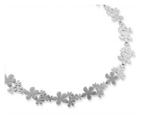 silver flower cluster necklace