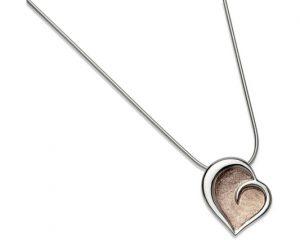 Sterling Silver Rose Gold Plate Heart Pendant Item UNQ-MK-464 | nichellejewellery.com