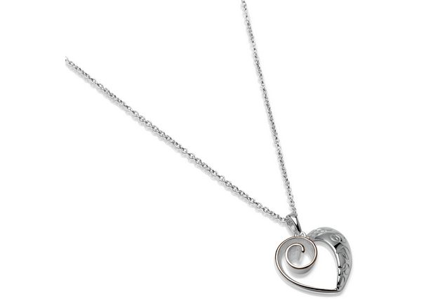 Sterling Silver Rose Gold Plate Heart Pendant Item UNQ-MK483 | nichellejewellery.com