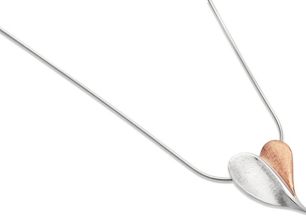 Sterling Silver Rose Gold Plate Heart Pendant Item UNQ-MK-532 | nichellejewellery.com