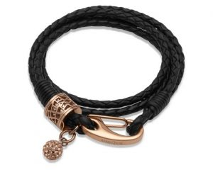 Black Leather Bracelet Item UNQ-B218BL | nichellejewellery.com